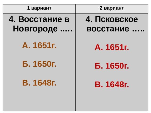 1 вариант 2 вариант 4. Восстание в Новгороде ..…  4. Псковское восстание …..  А. 1651г.  А. 1651г. Б. 1650г.   Б. 1650г. В. 1648г.  В. 1648г.