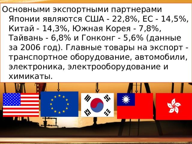 Основными экспортными партнерами Японии являются США - 22,8%, ЕС - 14,5%, Китай - 14,3%, Южная Корея - 7,8%, Тайвань - 6,8% и Гонконг - 5,6% (данные за 2006 год). Главные товары на экспорт - транспортное оборудование, автомобили, электроника, электрооборудование и химикаты.