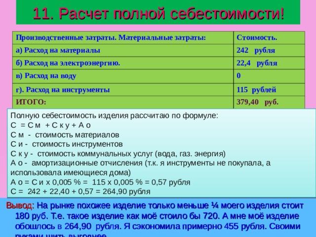 11. Расчет полной себестоимости! Производственные затраты. Материальные затраты: Стоимость. а) Расход на материалы 242 рубля б) Расход на электроэнергию. 22,4 рубля в) Расход на воду 0 г). Расход на инструменты 115 рублей ИТОГО: 379,40 руб. Полную  себестоимость  изделия рассчитаю по формуле: С = С м + С к у + А о С м - стоимость материалов С и - стоимость инструментов С к у - стоимость коммунальных услуг (вода, газ. энергия) А о - амортизационные отчисления (т.к. я инструменты не покупала, а использовала имеющиеся дома) А о = С и х 0,005 % = 115 х 0,005 % = 0,57 рубля С = 242 + 22,40 + 0,57 = 264,90 рубля  Вывод: На рынке похожее изделие только меньше ¼ моего изделия стоит 180 руб. Т.е. такое изделие как моё стоило бы 720. А мне моё изделие обошлось в 264,90 рубля. Я сэкономила примерно 455 рубля. Своими руками шить выгоднее.