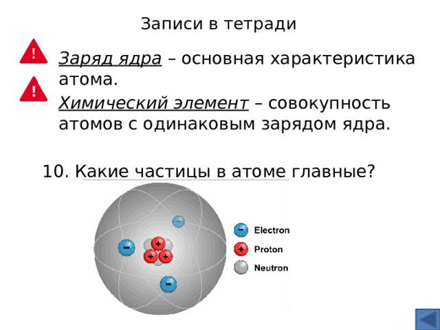Записи в тетради Заряд ядра – основная характеристика атома. Химический элемент – совокупность атомов с одинаковым зарядом ядра. 10. Какие частицы в атоме главные?