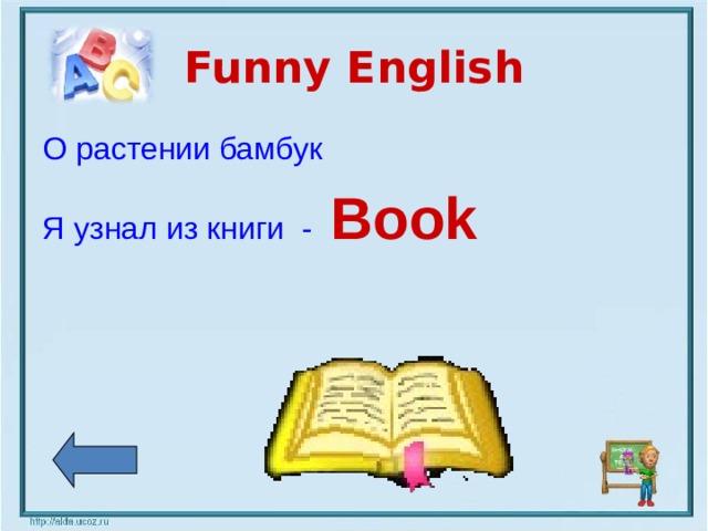 Funny English О растении бамбук Я узнал из книги  -  Book