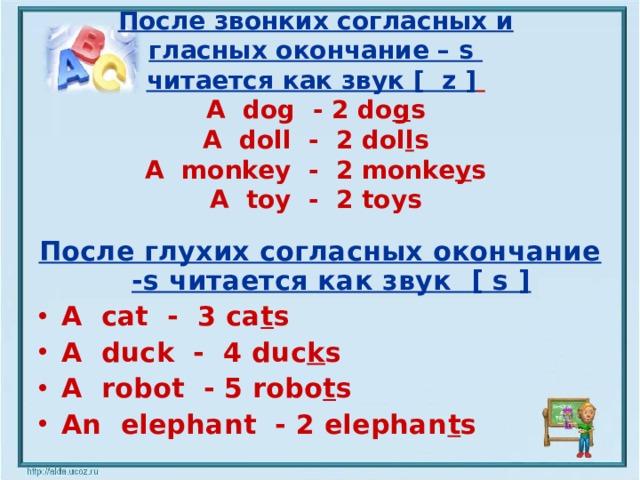 После звонких согласных и  гласных окончание – s  читается как звук [ z ]   A dog - 2 do g s  A doll - 2 dol l s  A monkey - 2 monke y s  A toy - 2 toys   После глухих согласных окончание - s читается как звук  [ s ] A cat - 3 ca t s A duck - 4 duc k s A robot - 5 robo t s An elephant - 2 elephan t s