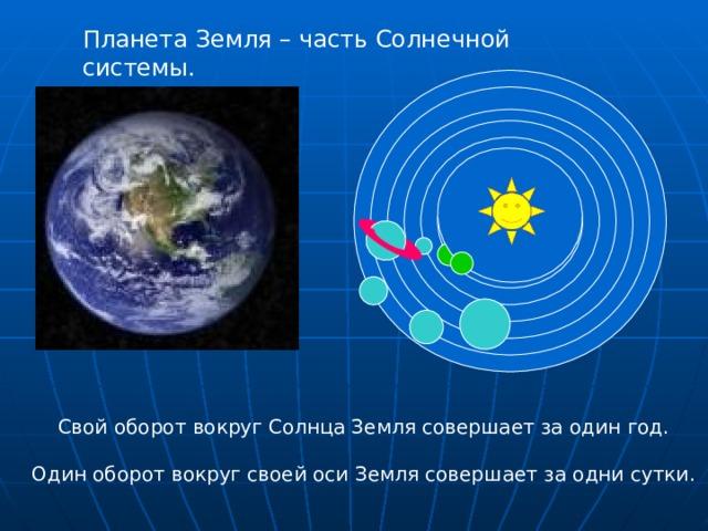 Планета Земля – часть Солнечной системы. Свой оборот вокруг Солнца Земля совершает за один год. Один оборот вокруг своей оси Земля совершает за одни сутки.