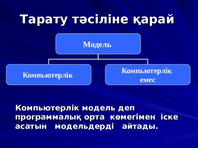 Тарату тәсіліне қарай  Модель Компьютерлік Компьютерлік емес  Компьютерлік модель деп программалық орта көмегімен іске асатын модельдерді айтады.