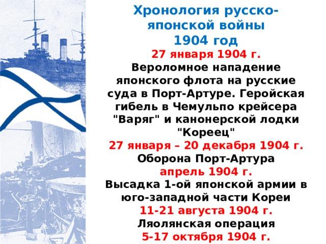 Хронология русско-японской войны 1904 год 27 января 1904 г. Вероломное нападение японского флота на русские суда в Порт-Артуре. Геройская гибель в Чемульпо крейсера