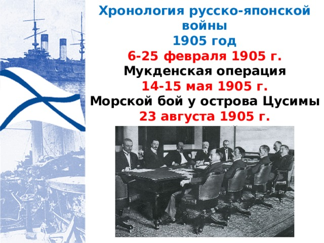 Хронология русско-японской войны 1905 год 6-25 февраля 1905 г. Мукденская операция 14-15 мая 1905 г. Морской бой у острова Цусимы 23 августа 1905 г. Портсмутский мир