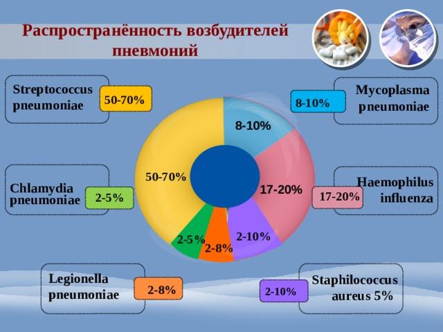 Распространённость возбудителей пневмоний Streptococcus pneumoniae Mycoplasma pneumoniae 50-70% 8-10% 8-10% 50-70% Haemophilus influenza Chlamydia pneumoniae 17-20% 17-20% 2-5% 2-10% 2-5% 2-8% Legionella pneumoniae Staphilococcus aureus 5% 2-8% 2-10%