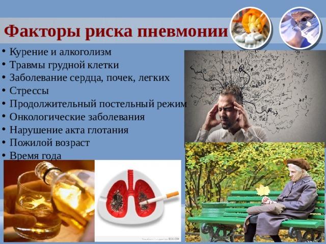 Факторы риска пневмонии Курение и алкоголизм Травмы грудной клетки Заболевание сердца, почек, легких Стрессы Продолжительный постельный режим Онкологические заболевания Нарушение акта глотания Пожилой возраст Время года
