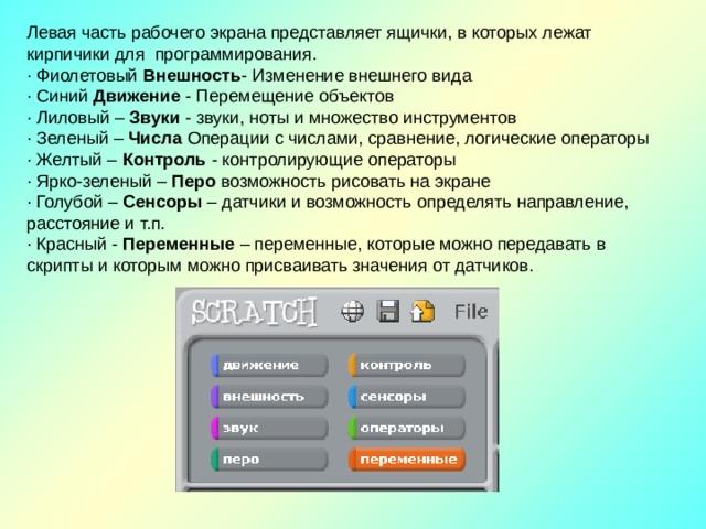 Левая часть рабочего экрана представляет ящички, в которых лежат кирпичики для программирования. · Фиолетовый Внешность - Изменение внешнего вида · Синий Движение - Перемещение объектов · Лиловый – Звуки - звуки, ноты и множество инструментов · Зеленый – Числа Операции с числами, сравнение, логические операторы · Желтый – Контроль - контролирующие операторы · Ярко-зеленый – Перо возможность рисовать на экране · Голубой – Сенсоры – датчики и возможность определять направление, расстояние и т.п. · Красный - Переменные – переменные, которые можно передавать в скрипты и которым можно присваивать значения от датчиков.