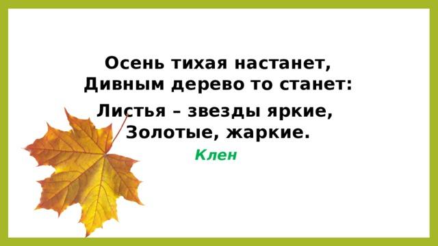 Осень тихая настанет,  Дивным дерево то станет: Листья – звезды яркие,  Золотые, жаркие. Клен