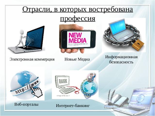 Отрасли, в которых востребована профессия   Информационная безопасность Электронная коммерция Новые Медиа Веб-порталы Интернет-банкинг