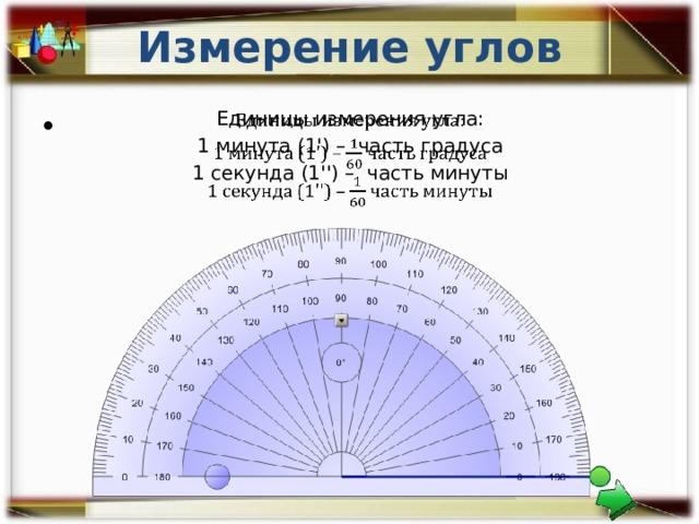 Измерение углов Единицы измерения угла:  1 минута (1') – часть градуса 1 секунда (1'') – часть минуты