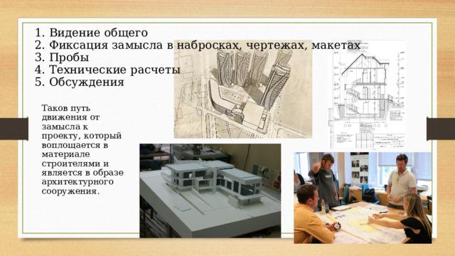 1. Видение общего 2. Фиксация замысла в набросках, чертежах, макетах 3. Пробы 4. Технические расчеты 5. Обсуждения Таков путь движения от замысла к проекту, который воплощается в материале строителями и является в образе архитектурного сооружения.
