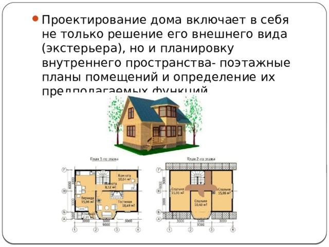 Проектирование дома включает в себя не только решение его внешнего вида (экстерьера), но и планировку внутреннего пространства- поэтажные планы помещений и определение их предполагаемых функций.