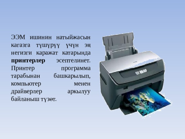ЭЭМ ишинин натыйжасын кагазга түшүрүү үчүн эң негизги каражат катарында принтерлер эсептелинет. Принтер программа тарабынан башкарылып, компьютер менен драйверлер аркылуу байланыш түзөт.