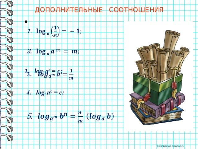 ДОПОЛНИТЕЛЬНЫЕ СООТНОШЕНИЯ     log a a c = c;