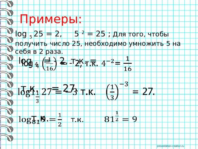 Примеры: log 5 25 = 2, 5 2 = 25 ; Для того, чтобы получить число 25, необходимо умножить 5 на себя в 2 раза. log 4 = - 2, т.к. =   т.к. = 27.   т.к.