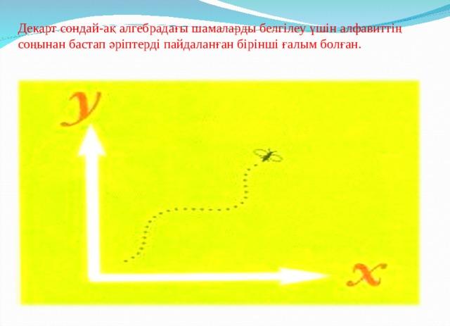 Декарт сондай-ақ алгебрадағы шамаларды белгілеу үшін алфавиттің соңынан бастап әріптерді пайдаланған бірінші ғалым болған.