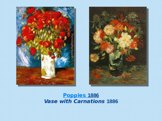 Poppies 1886  Vase with Carnations  1886