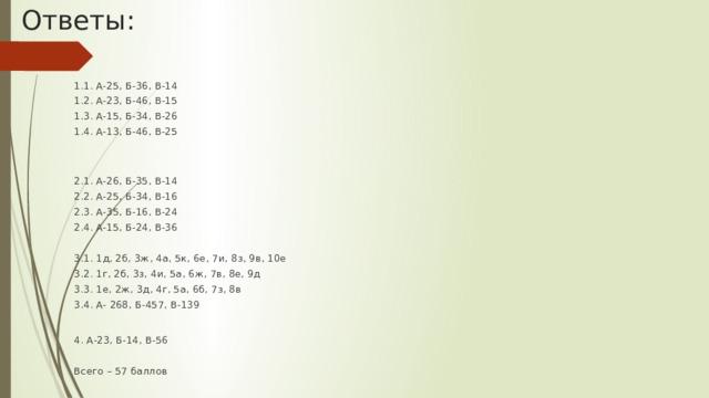 Ответы: 1.1. А-25, Б-36, В-14 1.2. А-23, Б-46, В-15 1.3. А-15, Б-34, В-26 1.4. А-13, Б-46, В-25 2.1. А-26, Б-35, В-14 2.2. А-25, Б-34, В-16 2.3. А-35, Б-16, В-24 2.4. А-15, Б-24, В-36 3.1. 1д, 2б, 3ж, 4а, 5к, 6е, 7и, 8з, 9в, 10е 3.2. 1г, 2б, 3з, 4и, 5а, 6ж, 7в, 8е, 9д 3.3. 1е, 2ж, 3д, 4г, 5а, 6б, 7з, 8в 3.4. А- 268, Б-457, В-139    4. А-23, Б-14, В-56 Всего – 57 баллов