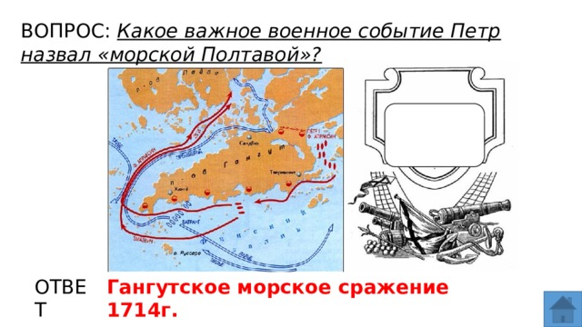 ВОПРОС: Какое важное военное событие Петр назвал «морской Полтавой»? МЕСТО ДЛЯ ВСТАВКИ ИЗОБРАЖЕНИЯ ОТВЕТ Гангутское морское сражение 1714г.