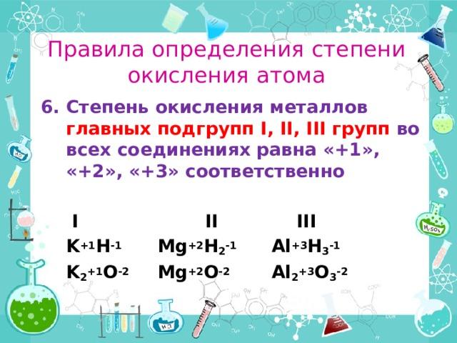 Правила определения степени окисления атома Степень окисления металлов главных подгруппI,II,IIIгрупп во всех соединениях равна «+1», «+2», «+3» соответственно   I     II    III  K +1 H -1   Mg +2 H 2 -1   Al +3 H 3 -1  K 2 +1 O -2   Mg +2 O -2   Al 2 +3 O 3 -2