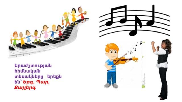 Երաժշտության հիմնական տեսակները երեքն  են՝ Երգ, Պար, Քայլերգ