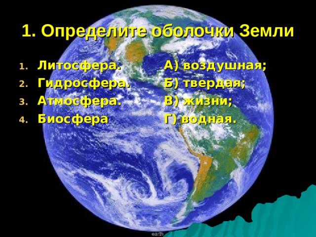 1. Определите оболочки Земли Литосфера. Гидросфера. Атмосфера. Биосфера А) воздушная; Б) твердая; В) жизни; Г) водная.