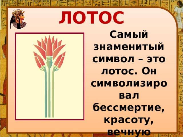 ЛОТОС Самый знаменитый символ – это лотос. Он символизировал бессмертие, красоту, вечную жизнь.