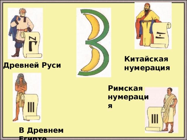 Китайская нумерация В Древней Руси Римская нумерация В Древнем Египте
