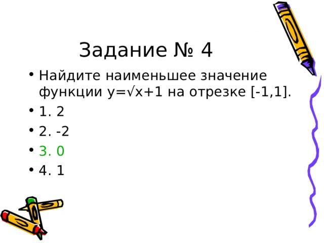 Задание № 4 Найдите наименьшее значение функции y= √x+1 на отрезке [-1,1]. 1. 2 2. -2 3. 0 4. 1