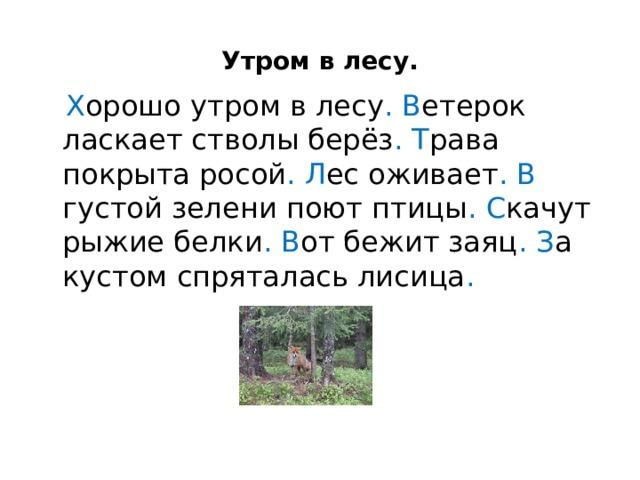 Утром в лесу.  Х орошо утром в лесу .  В етерок ласкает стволы берёз .  Т рава покрыта росой .  Л ес оживает .  В густой зелени поют птицы .  С качут рыжие белки . В от бежит заяц .  З а кустом спряталась лисица .