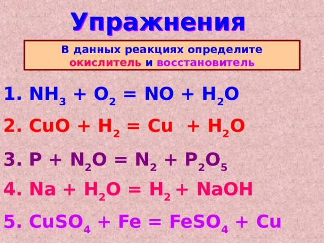 Упражнения В данных реакциях определите окислитель и восстановитель 1. NH 3 + O 2 = NO + H 2 O  2. CuO + H 2 = Cu + H 2 O  3. P + N 2 O = N 2 + P 2 O 5  4. Na + H 2 O = H 2 + NaOH  5. CuSO 4 + Fe = FeSO 4 + Cu