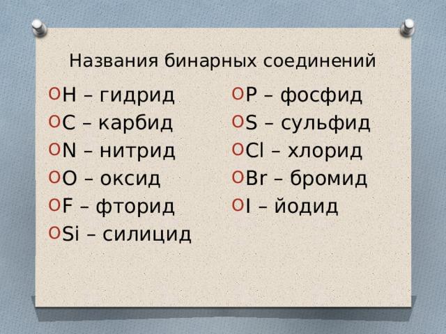 Названия бинарных соединений H – гидрид C – карбид N – нитрид O – оксид F – фторид Si – силицид P – фосфид S – сульфид Cl – хлорид Br – бромид I – йодид