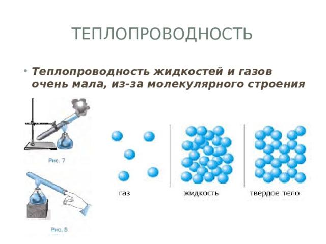 Теплопроводность Теплопроводность жидкостей и газов очень мала, из-за молекулярного строения