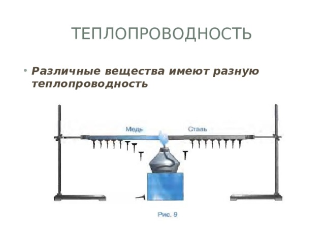 Теплопроводность Различные вещества имеют разную теплопроводность