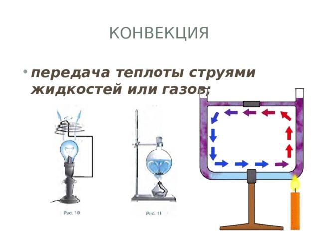 Конвекция передача теплоты струями жидкостей или газов;