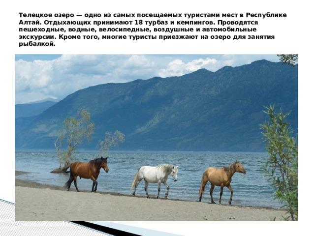 Телецкое озеро — одно из самых посещаемых туристами мест в Республике Алтай. Отдыхающих принимают 18 турбаз и кемпингов. Проводятся пешеходные, водные, велосипедные, воздушные и автомобильные экскурсии. Кроме того, многие туристы приезжают на озеро для занятия рыбалкой.