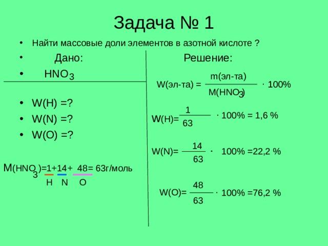 Задача № 1 Найти массовые доли элементов в азотной кислоте ?  Дано:     Решение:  HNO         W(H) =?       W(N) =?        W(O) =?          m( эл-та) 3 . W( эл-та) = 1  100% M(HNO ) 3 1 . w (H)= 100% = 1,6 % 63 14 . . W(N)= 100% =22,2 % 63 M (HNO )=1+14+ 48= 63 г/моль 3 H O N 48 . W(O)= 100% =76,2 % 63