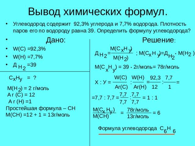 Вывод химических формул. Углеводород содержит 92,3% углерода и 7,7% водорода. Плотность паров его по водороду равна 39. Определить формулу углеводорода?  Дано:     Решение : W(C) =92,3%        W(H) =7,7%         Д =39  М( C H ) x у . ; M(C H )= Д M(H ) Д = 2 H x у  H 2 2 М (H ) 2 . M(C H ) = 39 2 г/моль= 78г/моль H 2 х у W(C) W(H) C H = ? 92,3 7,7 x у : = Х : У = = : 12 1 Ar(C) Ar(H) M(H ) = 2 г/моль A r (C) = 12 A r (H) =1 2 7,7 7,7 : = 1 : 1 =7,7 : 7,7 = 7,7 7,7 Простейшая формула – CH M(CH) =12 + 1 = 13 г/моль  M(C H ) M(CH) 78 г/моль 13г/моль х у = = 6 Формула углеводорода C H 6 6