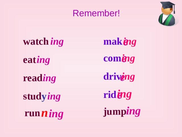 Remember! e ing mak watch ing e ing com eat ing e driv ing read ing e ing rid stud y ing ing n jump run ing