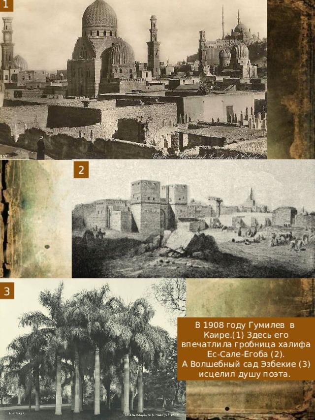1 2 3 В 1908 году Гумилев в Каире.(1) Здесь его впечатлила гробница халифа Ес-Сале-Егоба (2). А Волшебный сад Эзбекие (3) исцелил душу поэта.