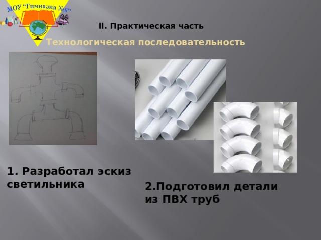 II. Практическая часть Технологическая последовательность 1. Разработал эскиз светильника 2.Подготовил детали из ПВХ труб