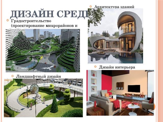 Дизайн среды Архитектура зданий Градостроительство (проектирование микрорайонов и городов) Дизайн интерьера Ландшафтный дизайн