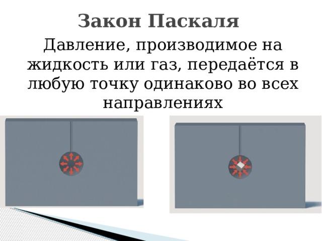 Закон Паскаля Давление, производимое на жидкость или газ, передаётся в любую точку одинаково во всех направлениях