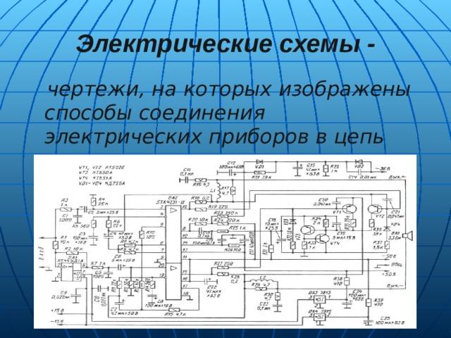 Электрические схемы -  чертежи, на которых изображены способы соединения электрических приборов в цепь