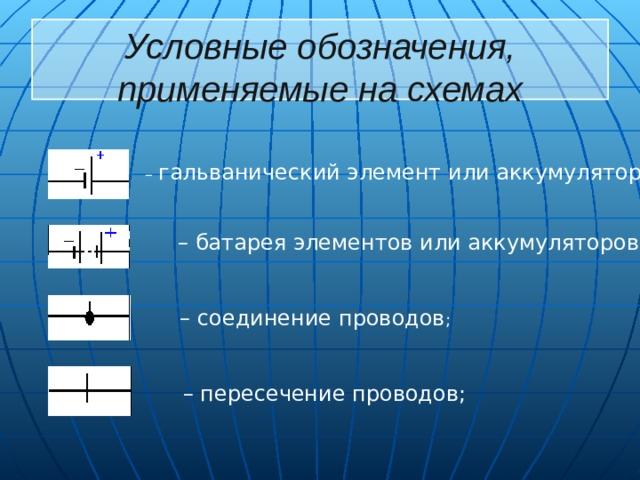 Условные обозначения, применяемые на схемах  – гальванический элемент или аккумулятор ;  – батарея элементов или аккумуляторов ;  – соединение проводов ;  – пересечение проводов;