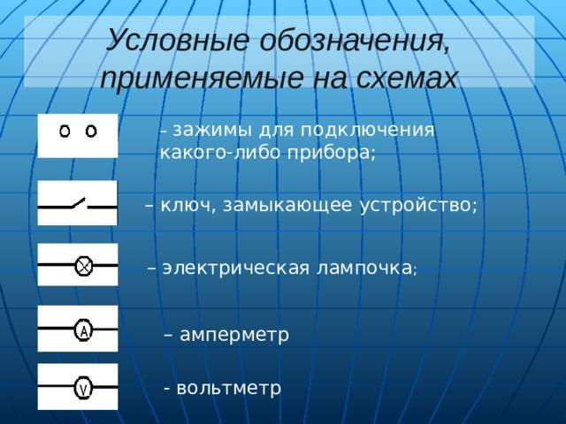 Условные обозначения, применяемые на схемах – зажимы для подключения какого-либо прибора; – ключ, замыкающее устройство; – электрическая лампочка ;  – амперметр - вольтметр