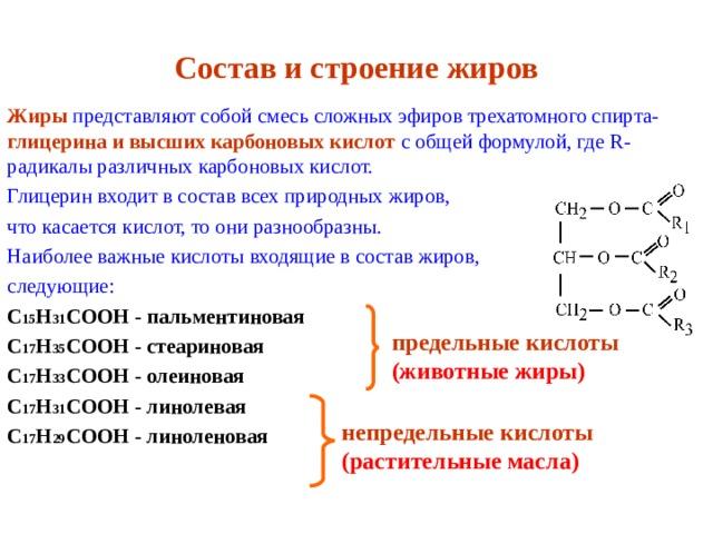 Состав и строение жиров Жиры  представляют собой смесь сложных эфиров трехатомного спирта- глицерина и высших карбоновых кислот с общей формулой, где R - радикалы различных карбоновых кислот. Глицерин входит в состав всех природных жиров, что касается кислот, то они разнообразны. Наиболее важные кислоты входящие в состав жиров, следующие: C 15 H 31 COOH - пальментиновая C 17 H 35 COOH - стеариновая C 17 H 33 COOH - олеиновая C 17 H 31 COOH - линолевая C 17 H 29 COOH - линоленовая   предельные кислоты (животные жиры)  непредельные кислоты (растительные масла)