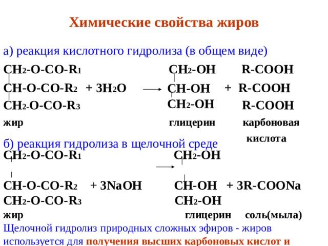 Химические свойства жиров а) реакция кислотного гидролиза (в общем виде) СН 2 -О-СО- R 1  СН 2 -ОН R-COOH  СН-О-СО- R 2  + 3Н 2 О + R-COOH СН 2- О-СО- R 3  R-COOH  жир  глицерин  карбоновая  кислота  СН-ОН СН 2 -ОН б) реакция гидролиза в щелочной среде СН 2 -О-СО- R 1   СН 2 -ОН   СН-О-СО- R 2  + 3NaOH      СН-ОН + 3R-COONa СН 2 -О-СО- R 3   СН 2 -ОН жир    глицерин  соль(мыла) Щелочной гидролиз природных сложных эфиров - жиров используется для получения высших карбоновых кислот и  солей.
